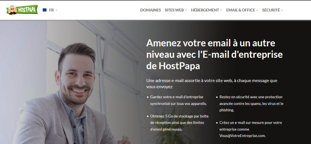 Hébergement e-mail HostPapa