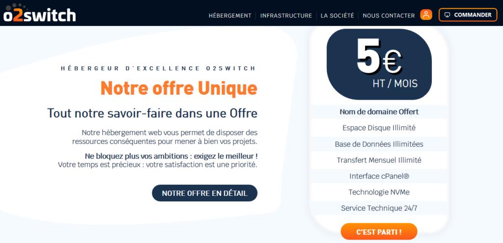 Hébergement web françaises o2switch