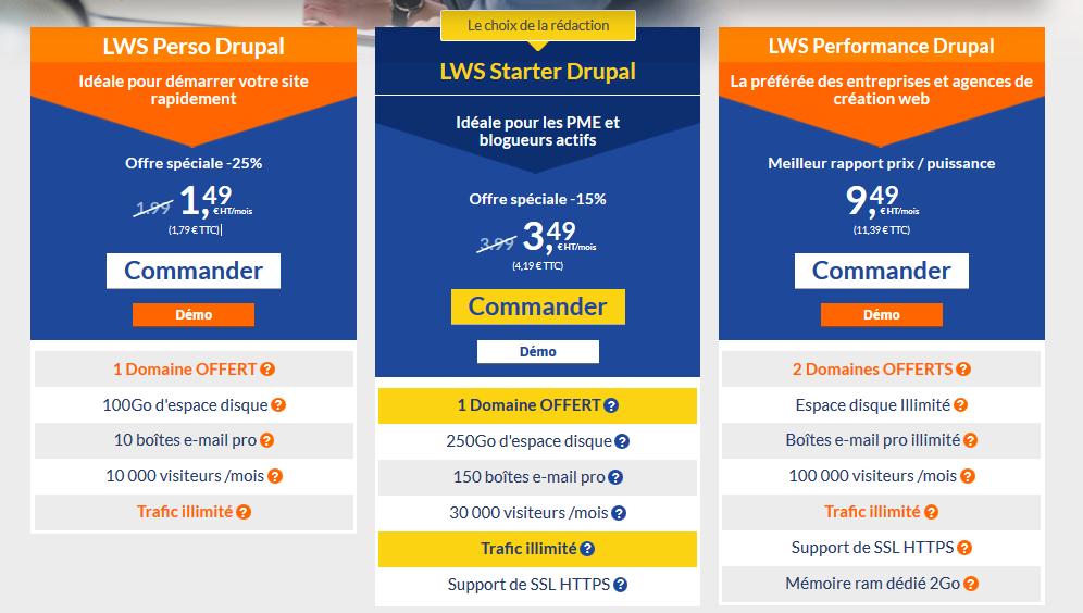 Hébergements pour Drupal LWS