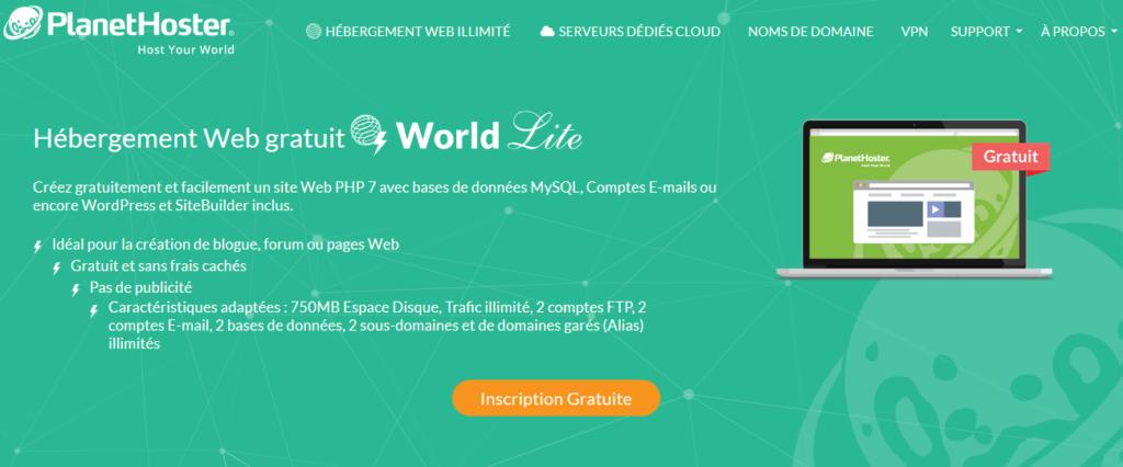 Hébergements Web gratuits PlanetHoster