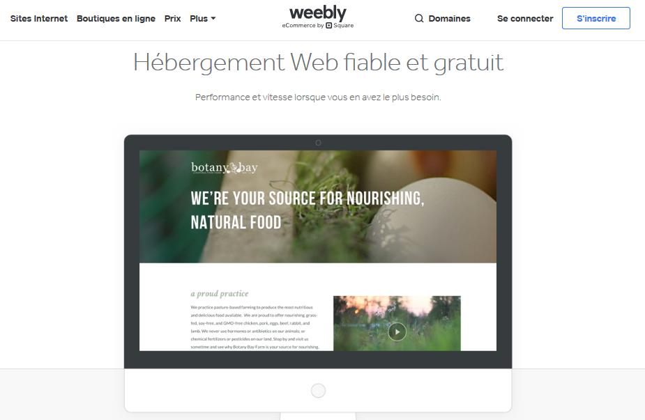 Hébergements Web gratuits Weebly