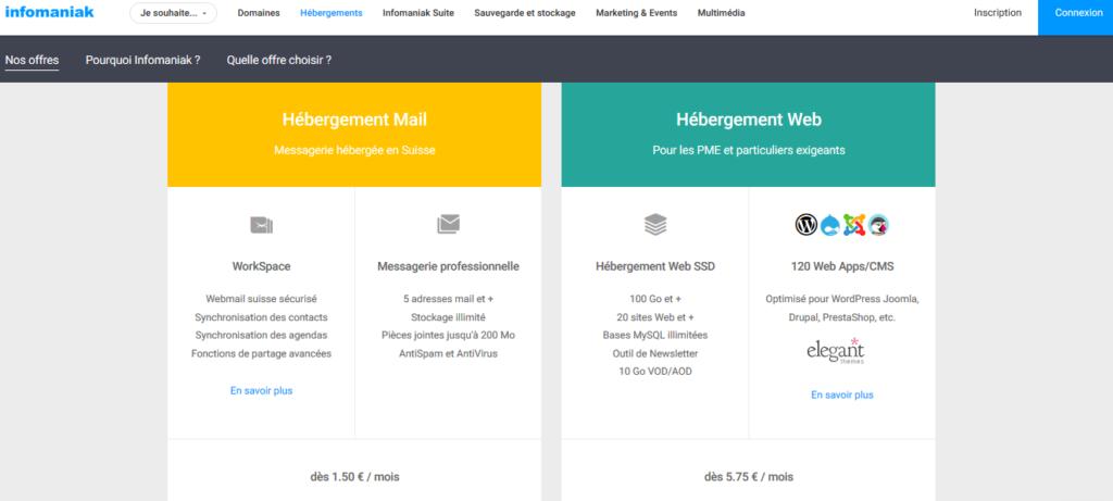 Plans d'hébergement web pas cher Infomaniak