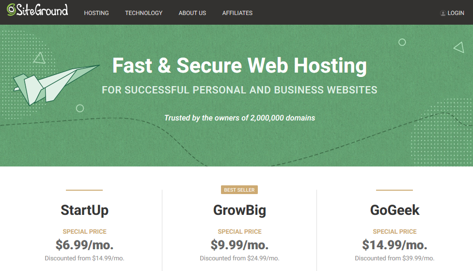 Hébergeur pour Joomla SiteGround