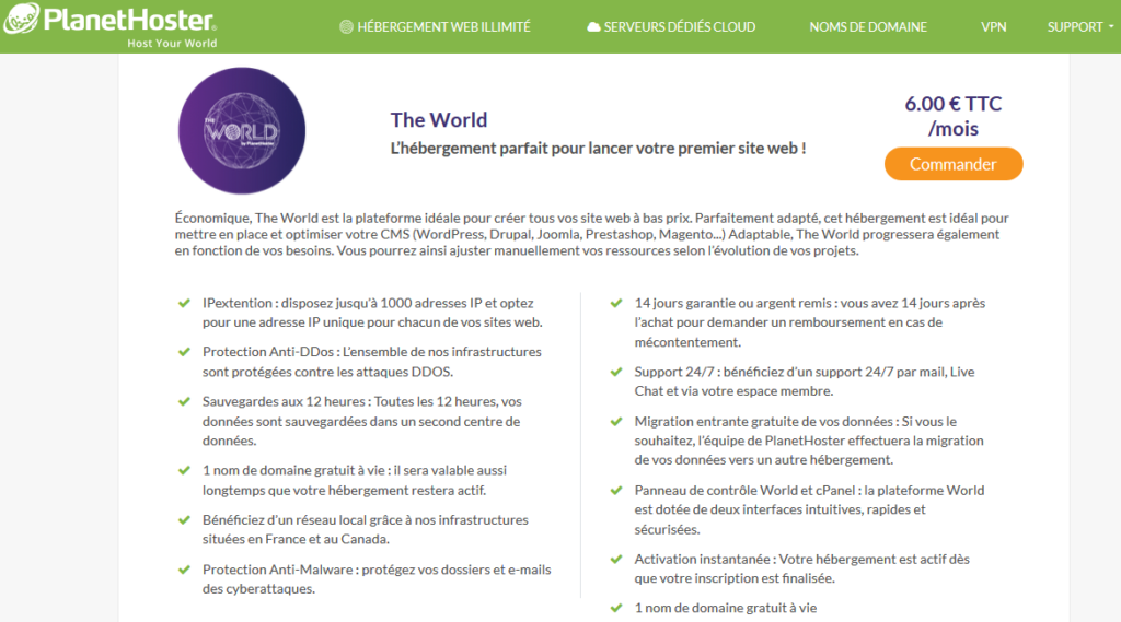 Hébergeurs e-commerce PlanetHoster