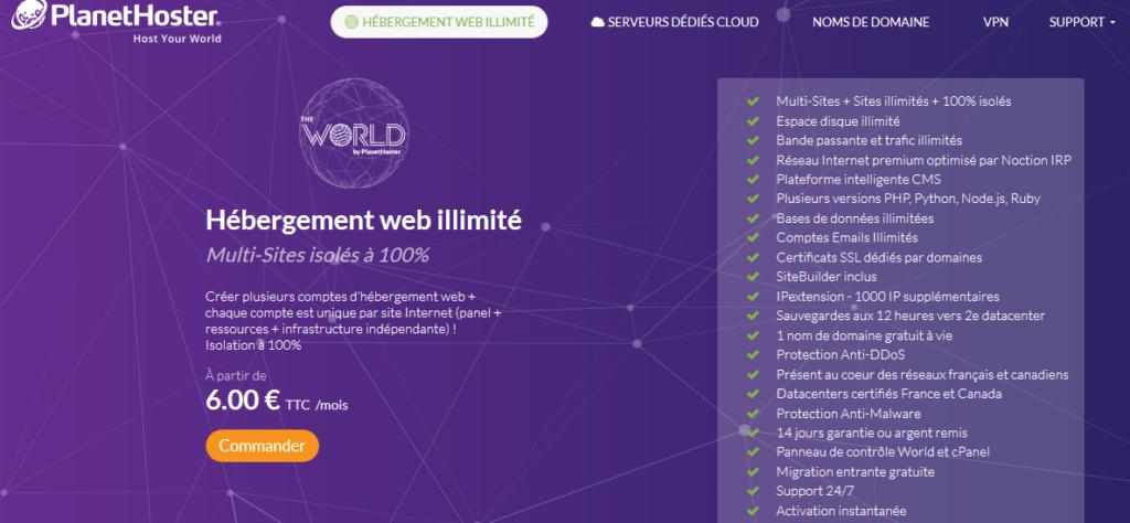 PlanetHoster hébergement WordPress