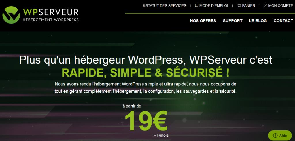 WP Serveur hébergeurs pour WordPress